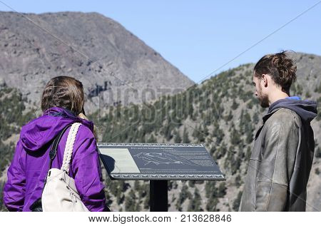 FLAGSTAFF, ARIZONA, OCTOBER 10. Arizona Snowbowl on October 10, 2017, near Flagstaff, Arizona. A Couple Explores the Area Near Arizona's Highest Summit Humphreys Peak in the San Francisco Peaks near Flagstaff in Arizona.