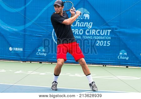 BANGKOK June 24 : Kelsey Stevenson of Canada action in Chang ITF Pro Circuit International Tennis Federation 2015 at Rama Gardens Hotel on June 24 2015 in Bangkok Thailand.
