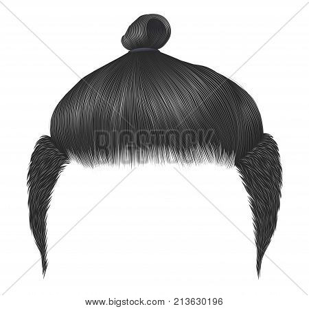 Trendy man hairs. Bun gray color.trendy stylish man hairs ginger colour.high hair styling . fashion beauty style .realistic 3d graphic.