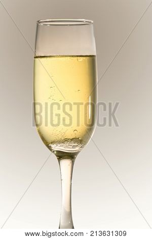 Bubbly cgampagne in a small champagne glass