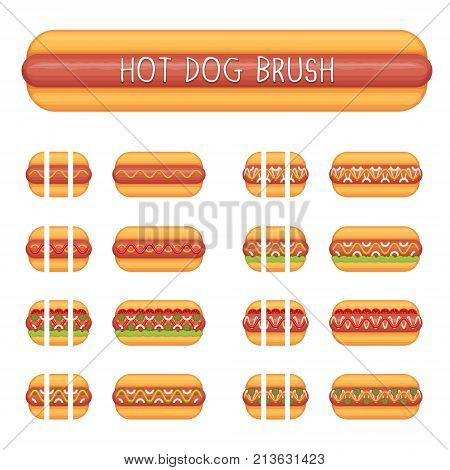 Hot dog with different stuffing seamless decoration brushes with ending tips. Drag the element to brush pannel to create a pattern brush