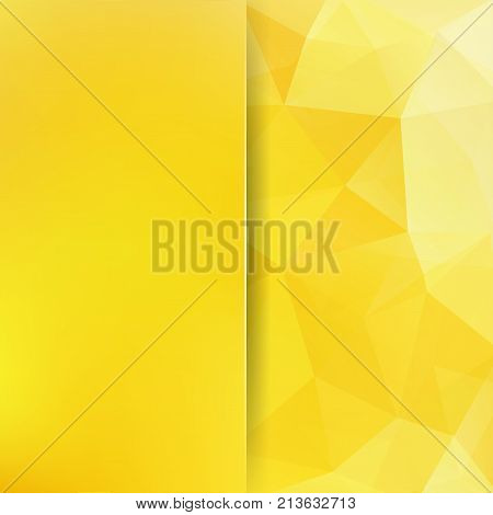 Background made of yellow triangles. Square composition with geometric shapes and blur element. Eps 10