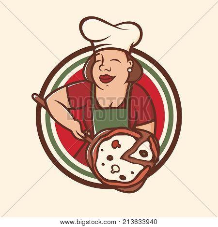 Modern vector professional emblem logo big mamas cook.