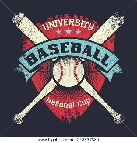 Baseball vintage grunge poster with shield, stars, crossed bats and ball. University national cup. Retro vector illustration