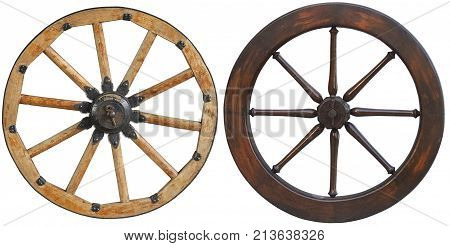 Isolated on white classic old antique wooden wagon wheel with black metal brackets and rivets. Wheel with wooden spokes. Old fashion horse vehicle waggon wheel. Traditional old cast iron cannon wheel