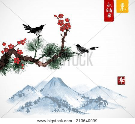 Two birds on sakura and pine tree branch and Fujyama mountain. Traditional Japanese ink painting sumi-e. Contains hieroglyphs - zen, freedom, nature, east.