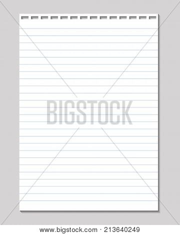 Vector sheet of lined paper with holes for binding isolated on a gray background