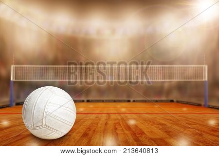 Low angle view of volleyball arena and copy space. Focus on foreground with deliberate shallow depth of field on background.