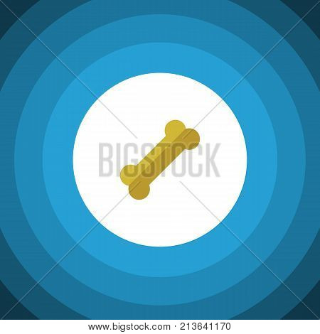 Osseous Vector Element Can Be Used For Osseous, Bone, Food Design Concept.  Isolated Bone Flat Icon.