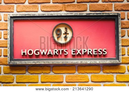 sign of the famous 9 and three quarter platform of the Hogwarts Express train from the Harry Potter saga - Ferrara Oct 15 2017