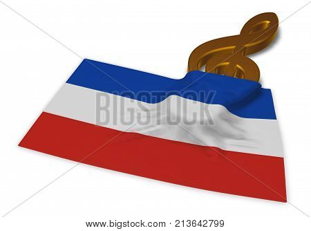 clef symbol and flag of schleswig-holstein - 3d rendering