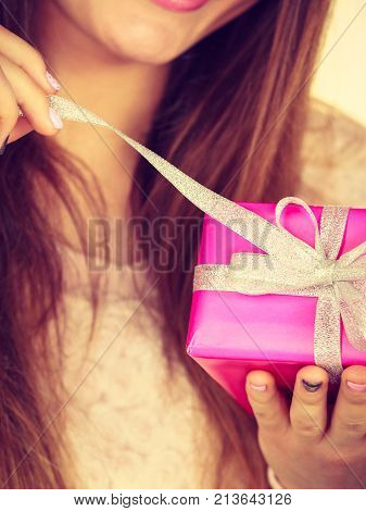 Female Hand With Pink Rose Box Gift