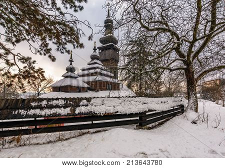 Old Orthodox Wooden Church In Winter