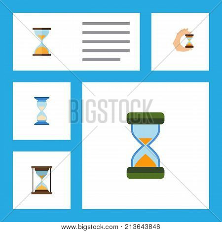 Flat Icon Timer Set Of Waiting, Sandglass, Hourglass Vector Objects