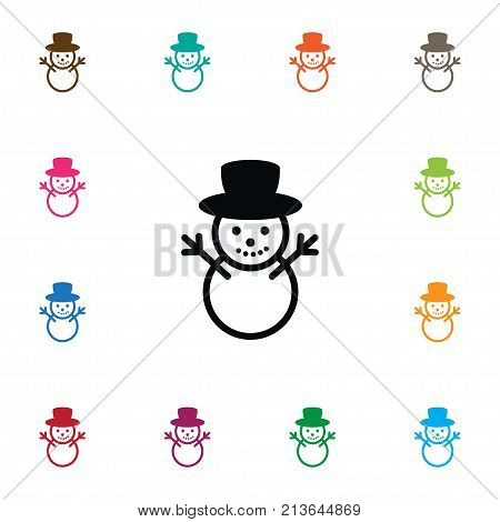Ice Person Vector Element Can Be Used For Christmas, Snowman, Winter Design Concept.  Isolated Snowman Icon.