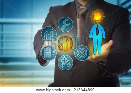 Faceless business coach is right on target with the career development of a bright employee. Human resources concept for talent management performance review and continued professional development.