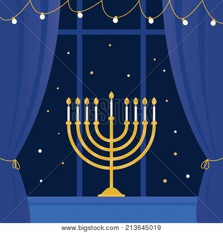 Hanukkah Menorah and Room Window. Vector Illustration.