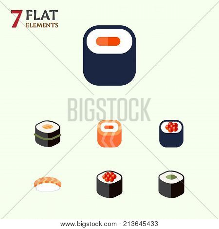 Flat Icon Maki Set Of Maki, Salmon Rolls, Seafood And Other Vector Objects