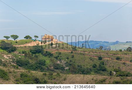Home house construction located overlooking thousand hills and valleys KZ-Natal South-Africa