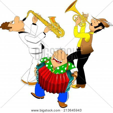 saxophonist trumpeter and accordionist perform a cheerful song at the festival