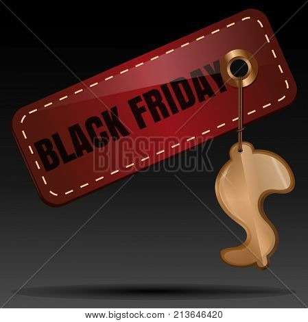 Black Friday price tag design. Red tag with a gold badge in the form of dollar. Black Friday sales tag. Vector illustration