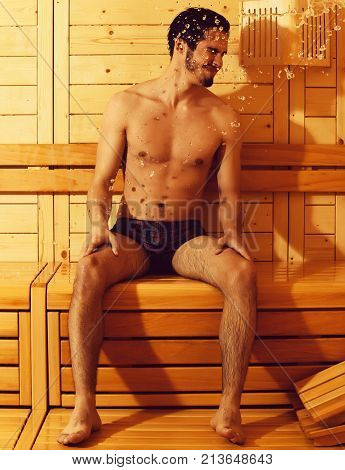 Splash Of Water On Sexy Man
