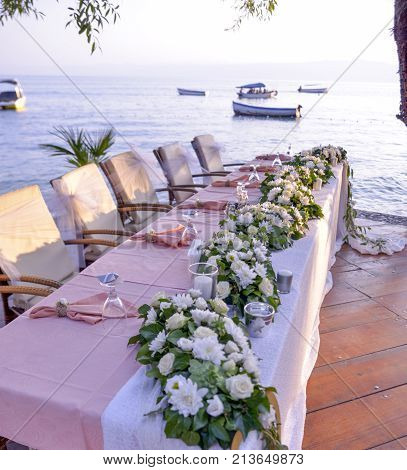 Well Decorated Wedding Table In Restaurant In Ohrid Macedonia