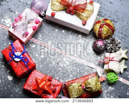 Christmas Decorations On Dark Wooden Background