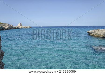 View of the seascape of Roca Vecchia