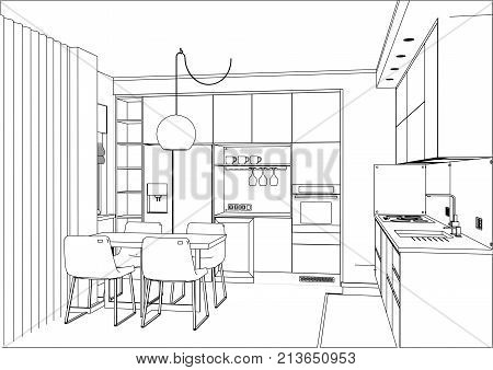 3D vector sketch. Modern kitchen design in apartment interior. Kitchen sketch with decorations and appliances.
