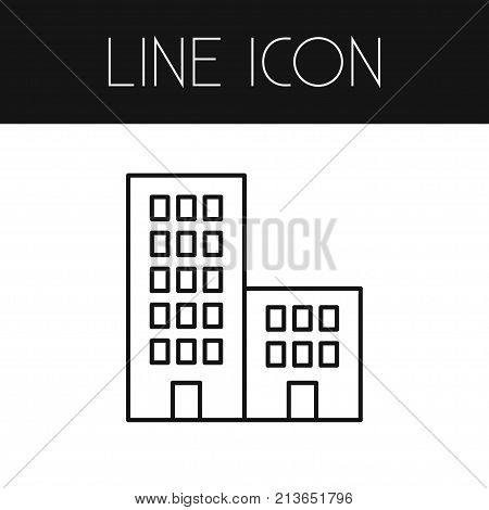 Apartment Vector Element Can Be Used For Building, Apartment, Residential Design Concept.  Isolated Building Outline.