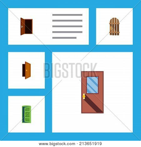 Flat Icon Door Set Of Approach, Frame, Door And Other Vector Objects