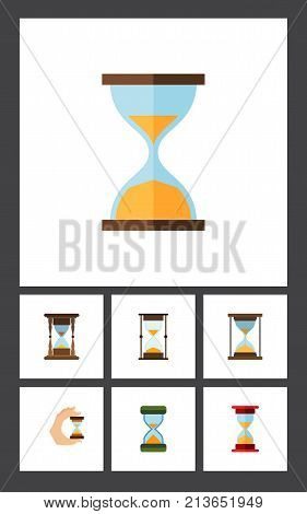 Flat Icon Timer Set Of Sandglass, Instrument, Hourglass Vector Objects