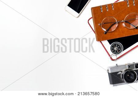 Business travel objects isolated on white copy space