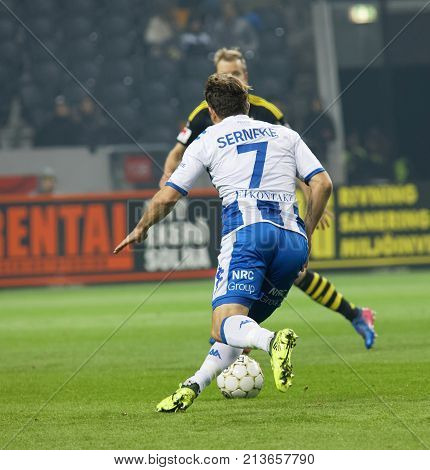 SOLNA SWEDEN - OCT 30 2017: Soccer player Tobias Hysen (IFK Goteborg) dribble the ball October 30 2017SolnaSweden