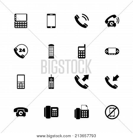 Phones icons - Expand to any size - Change to any colour. Flat Vector Icons - Black Illustration on White Background.