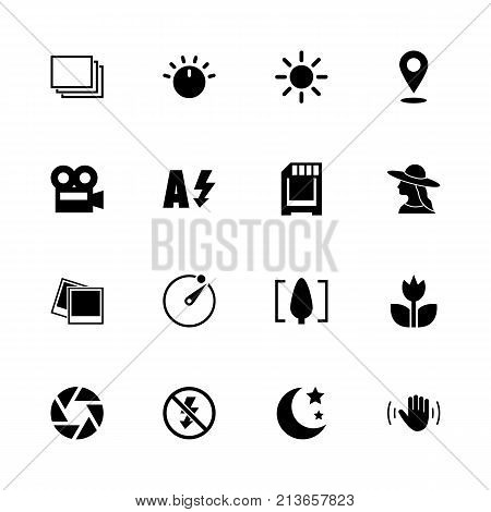 Photo Mode icons - Expand to any size - Change to any colour. Flat Vector Icons - Black Illustration on White Background.