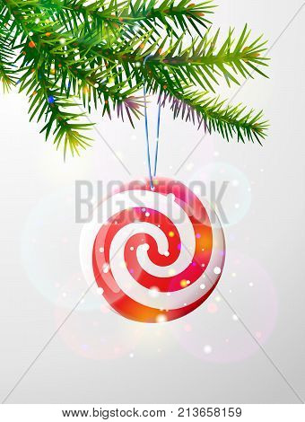 Christmas tree branch with round candy. Striped peppermint lollipop hanging on pine twig. Best vector image for christmas new years day decoration winter holiday sweet-stuff new years eve