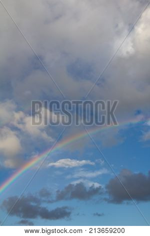 rainbow in the sky on the nature .