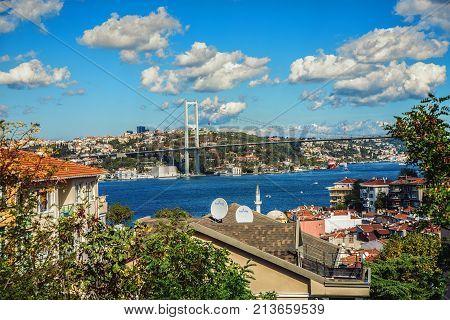 ISTANBUL TURKEY: View of Bosphorus and Bosphorus Bridge from the hilltop of Kuzguncuk small district at the coastline of Bosphorus Istanbul on October 10 2017