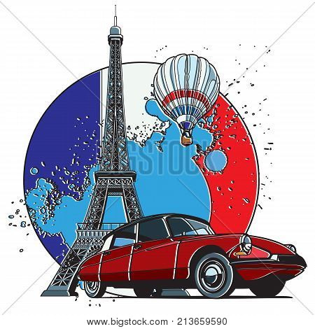Vector badge on theme of Paris executed in retro print style with colors misregistration effect on the background in National color of French. Easily edit: file is divided into logical layers and groups. File doesn't contains gradients blends transparency