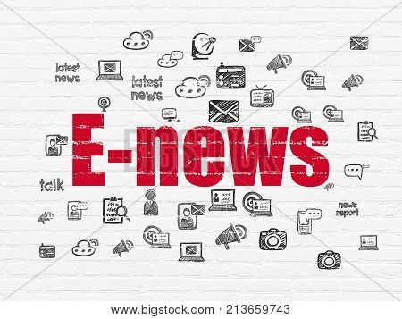 News concept: Painted red text E-news on White Brick wall background with  Hand Drawn News Icons