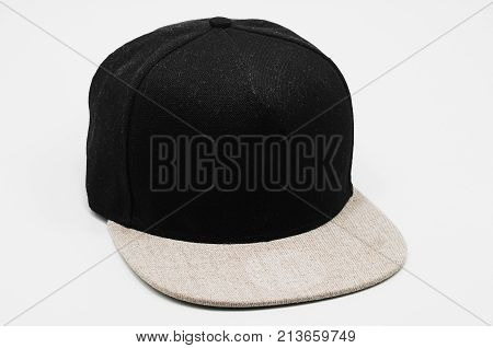 Black Cap With Light Gray Flap Isolated On White