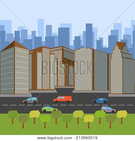 City street with a roadway and skyscrapers. Vector illustration