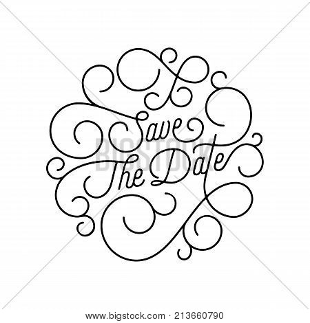 Save The Date Flourish Calligraphy Lettering Of Swash Line Typography For Wedding Invitation Card De