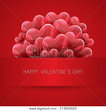 Vector holiday illustration of bunch of red glossy helium balloons heart shape. Happy Valentines Day. Festive decoration. Balloon Hearts.