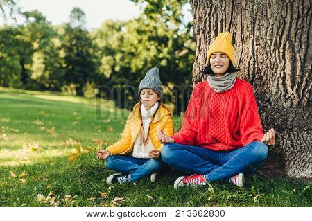 Relaxed carefree woman and little daughter sit in pose of lotus near tree in park, close eyes, try to concentrate, practice yoga together, dressed in warm clothes. Two female think about piece outdoor