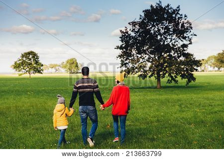 Three friendly family members have walk together on green meadow, keep hands, have pleasant conversation, enjoy togetherness and beautiful landscapes, look into distance, stand backs to camera