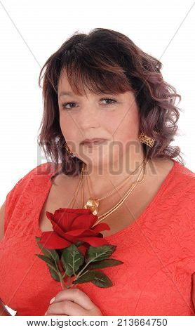 A closeup image of an plus size woman in a red dress holding a red rose with necklace isolated for white background