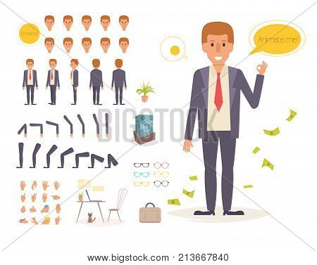 Businessman for animation. Poses Creation set. Collection of emotions. Vector. Cartoon. Isolated art on white background. Flat. Different positions of the hands